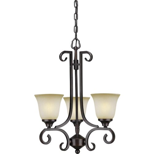 Forte Lighting 3 Light Chandelier with Umber Mist Glass Shade