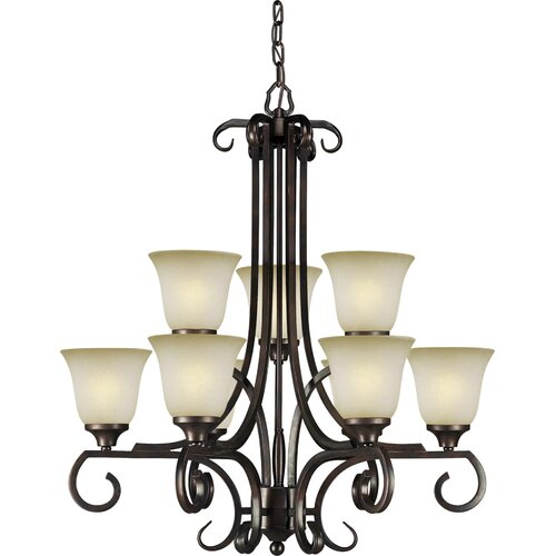 Forte Lighting 9 Light Chandelier with Umber Mist Shade