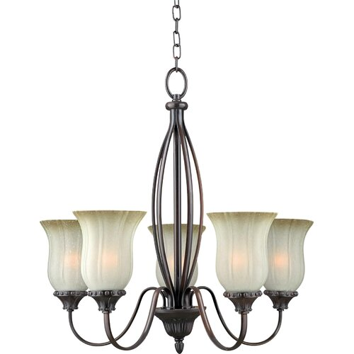 Forte Lighting 5 Light Chandelier with Umber Mist Shades