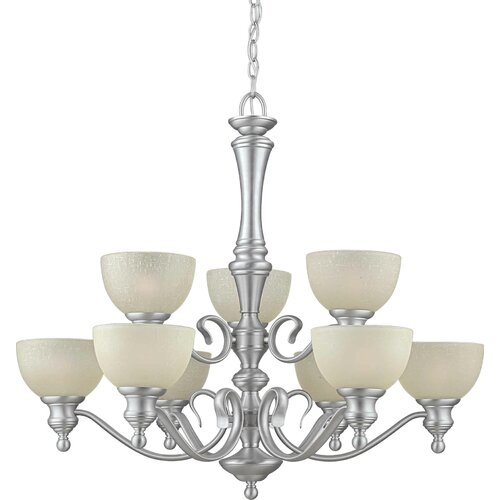9 Light Chandelier with Umber Linen Glass Shades