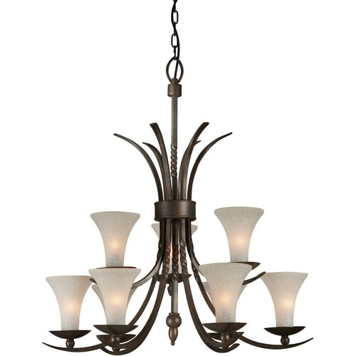 9 Light Chandelier with Umber Linen Glass Shade