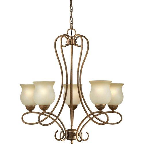 Forte Lighting 5 Light Chandelier with Umber Glass Shades