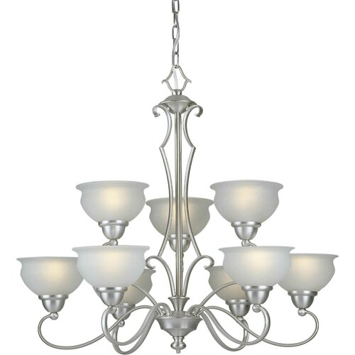 9 Light Chandelier with Linen Glass Shades