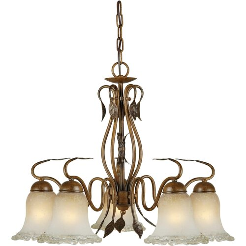 Forte Lighting 5 Light Chandelier with Umber Ice Glass Shades