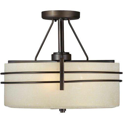 Forte Lighting 3 Light Semi Flush Mount - Umber Linen Shade