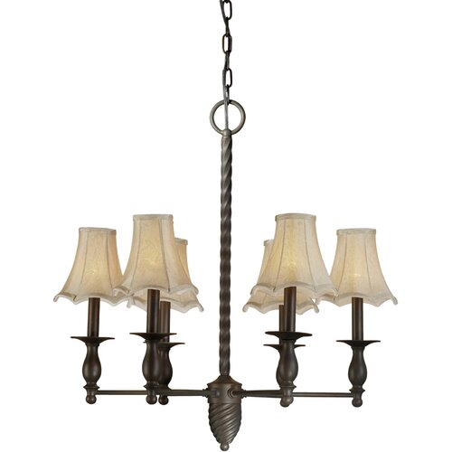 Forte Lighting 6 Light Chandelier with Fabric Shades