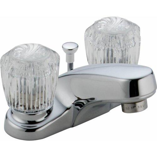 Delta Classic Centerset Bathroom Faucet with Clear Knob Handles Metal Pop-Up Drain