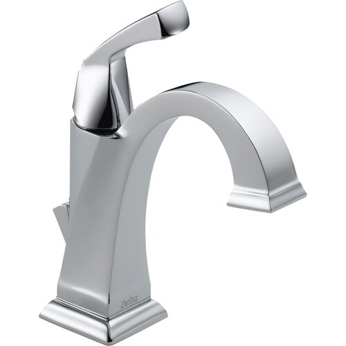 Delta Dryden Single Hole Bathroom Faucet with Diamond Seal Technology with Metal Pop-Up Drain and 3-Hole Cover Plate