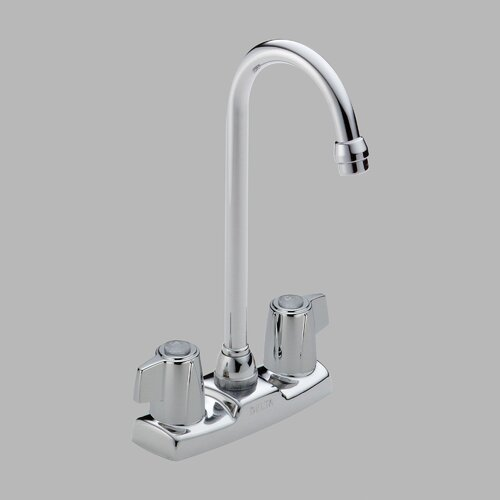 Delta Classic Double Handle Centerset Bar Kitchen Faucet with Metal Blade Handles and Ceramic Valve