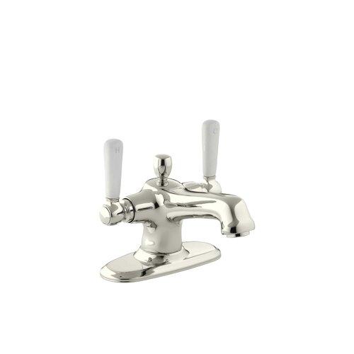 Kohler Bancroft Monoblock Single Hole Bathroom Sink Faucet With Escutcheon And White Ceramic