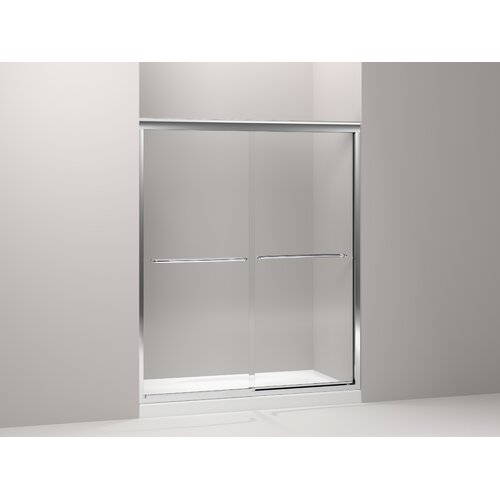 "Kohler Fluence 75"" H X 56.625"" - 59.625"" W Sliding Shower Door with 0.375"" Crystal Clear Glass"