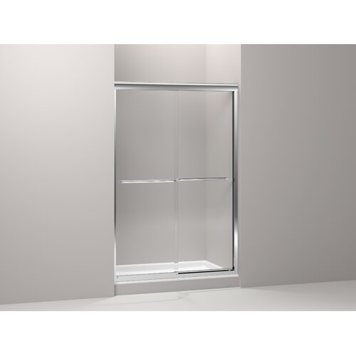 "Kohler Fluence Frameless Sliding Bath Door with Cavata Glass 76"" H x 52"" W"