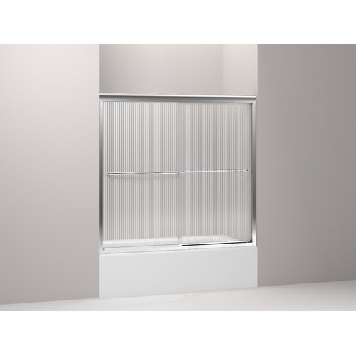 "Kohler Fluence 59.625"" W x 55.75"" H Sliding Bath Door with Falling Lines Glass"