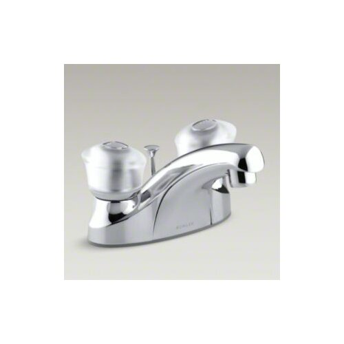 Coralais Centerset Lavatory Faucet with Sculptured Acrylic Handles, Pop-Up Drain and Lift Rod