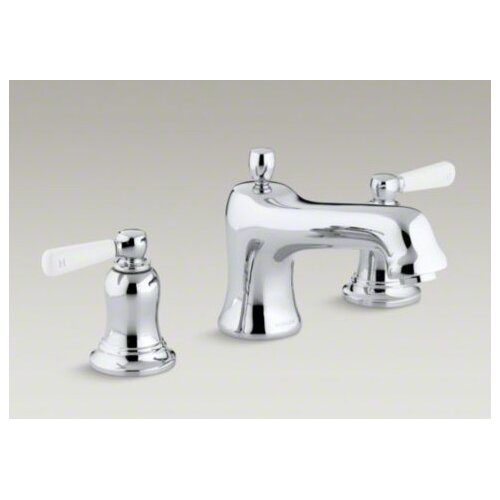Kohler Bancroft Bath- Or Deck-Mount High-Flow Bath Faucet Trim with White Ceramic Lever Handles, Valve Not Included