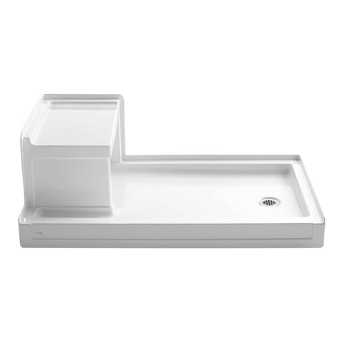 "Kohler Tresham 60"" x 36"" Receptor with Integral Seat and Right-Hand Drain"