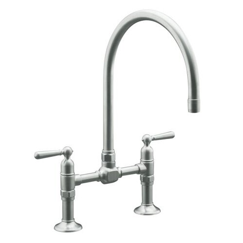 Hirise Stainless Deck Mount Bridge Kitchen Faucet