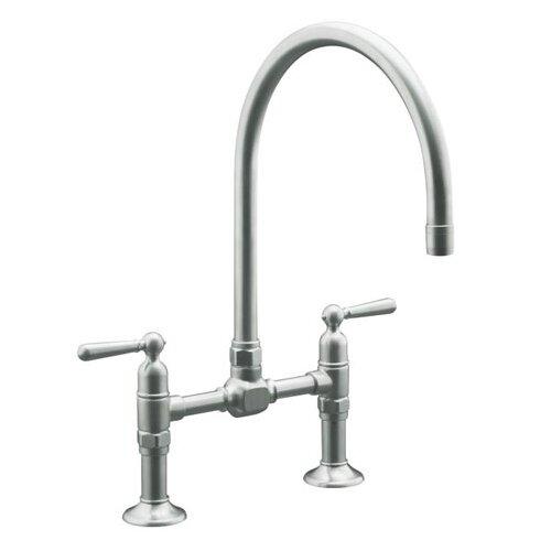 Hirisetwo Hole Deck Mount Bridge Kitchen Sink Faucet With 10 1 4 Gooseneck Spout And Lever