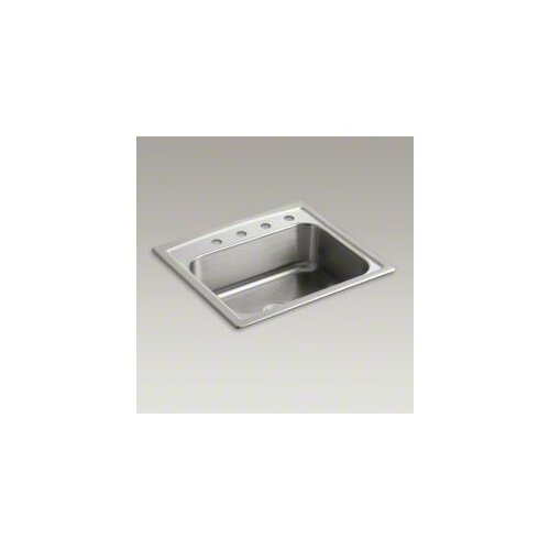 "Kohler Toccata 25"" X 22"" X 7-11/16"" Top-Mount Single-Bowl Kitchen Sink with 4 Faucet Holes"