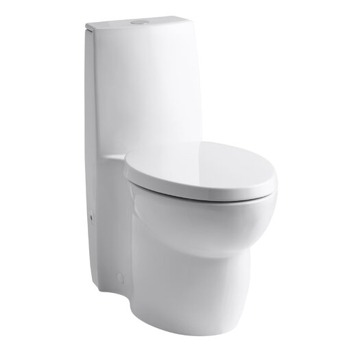 Saile One-Piece Elongated Dual-Flush Toilet with Top Actuator and Saile Quiet-Close Toilet Seat ...