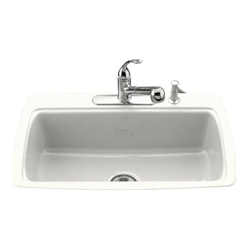 "Kohler Cape Dory 33"" X 22"" X 9-5/8"" Tile-In Single-Bowl Kitchen Sink with 4 Faucet Holes"