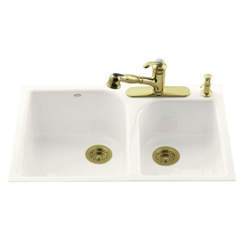 "Kohler Executive Chef 33"" x 22"" Tile-In Large/Medium, High/Low Double-Bowl Kitchen Sink with 4 Faucet Holes"