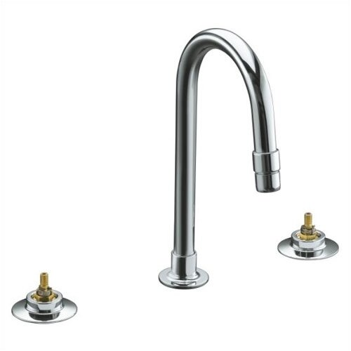 Triton Widespread Lavatory Faucet with Rigid Connections, Requires Handles, Less Drain