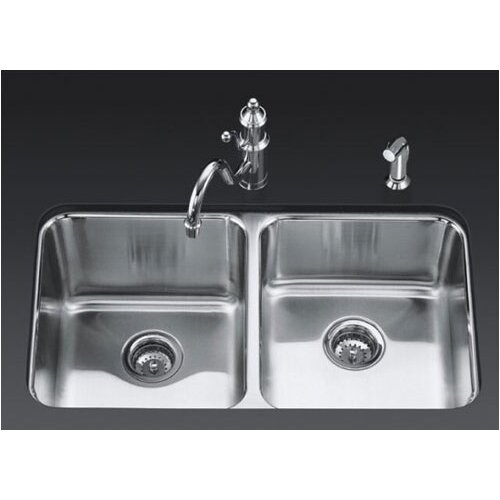 "Kohler Undertone 31.5"" x 18"" Under-Mount Double-Equal Bowl Kitchen Sink"