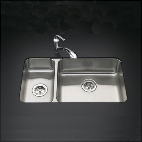 "Kohler Undertone 31.5"" x 18"" Under-Mount High/Low Double-Bowl Kitchen Sink"