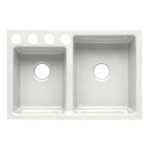 "Kohler Clarity 33"" X 22"" X 9"" Under-Mount Large/Medium Double-Bowl Kitchen Sink with 4 Oversize Faucet Holes"
