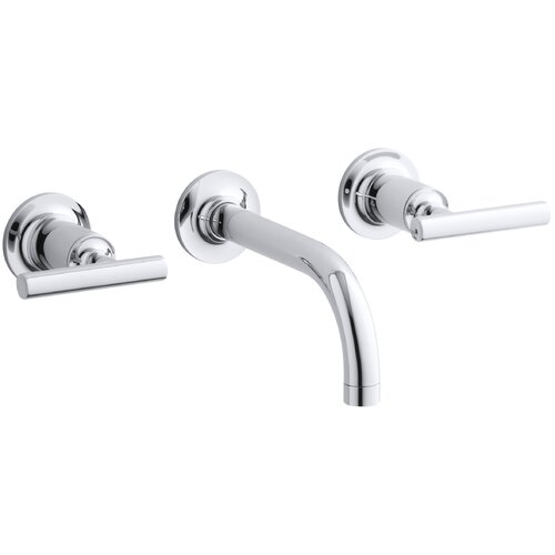 Purist Widespread Wall-Mount Bathroom Faucet Trim with Lever Handles and 6