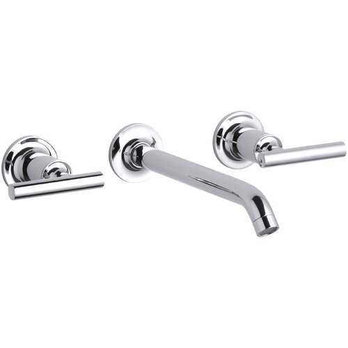 """Kohler Purist Widespread Wall-Mount Bathroom Sink Faucet Trim with 8-1/4"""" Spout and Lever Handles, Requires Valve"""