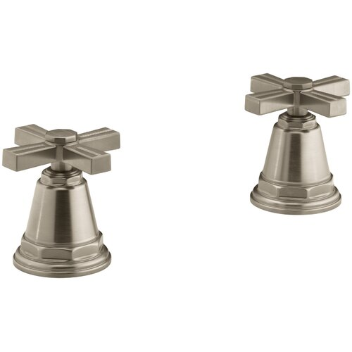 Kohler Pinstripe Bath- Or Deck-Mount High-Flow Bath Valve Trim with Cross Handles, Handles Only, Valve Not Included