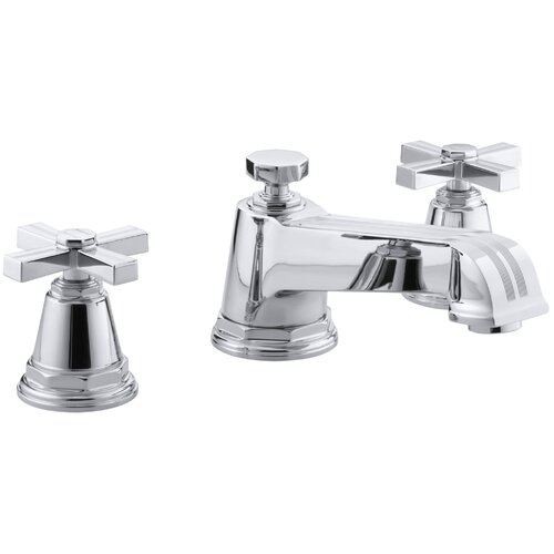 Kohler Pinstripe Deck-Mount High-Flow Bath Faucet Trim with Cross Handles, Valve Not Included