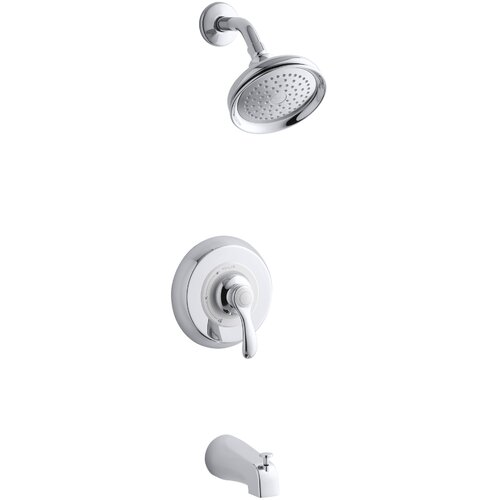 Kohler Fairfax Rite-Temp Pressure-Balancing Bath and Shower Faucet Trim with Lever Handle and Slip-Fit Diverter Spout, Valve Not Included