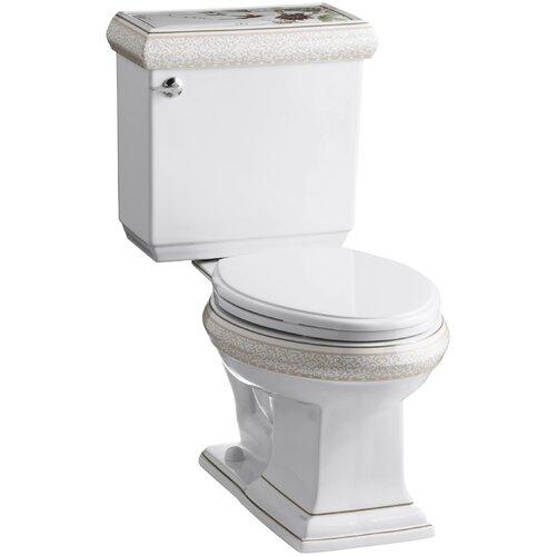 Kohler Crimson Topaz Design On Memoirs Classic Two-Piece Elongated 1.6 Gpf Toilet with Ingenium Flush Technology and Left-Hand Trip Lever