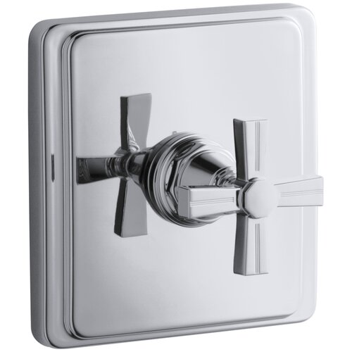 Kohler Pinstripe Thermostatic Valve Trim, Cross Handle, Valve Not Included