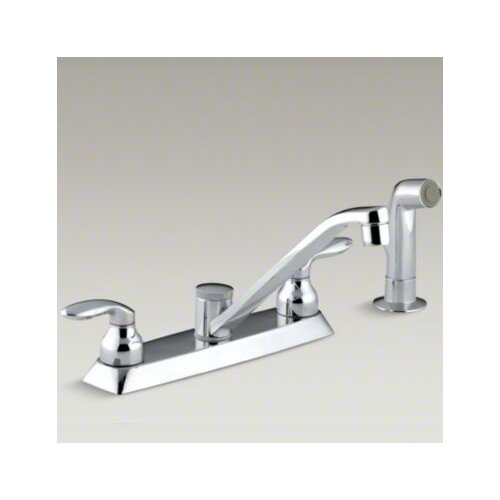 Coralais Kitchen Faucet with Color-Matched Sidespray and Lever Handles