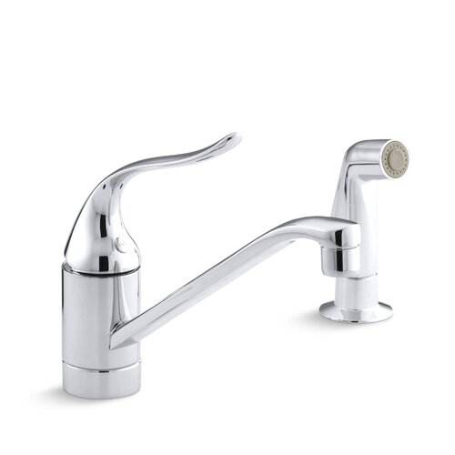 """Kohler Coralais Single-Control Kitchen Faucet with Sidespray and 8-1/2"""" Swing Spout"""