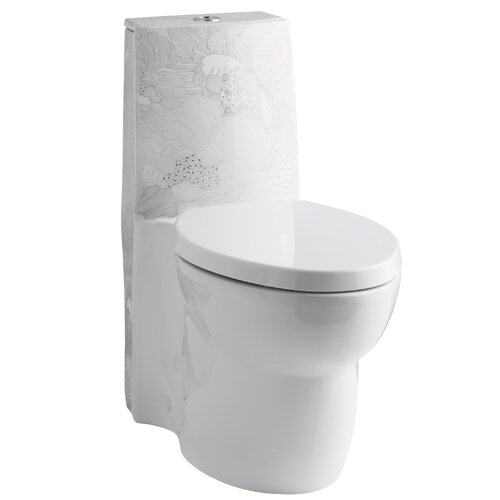 Empress Bouquet Design On Saile One-Piece Elongated Dual-Flush Toilet with Top Actuator and ...