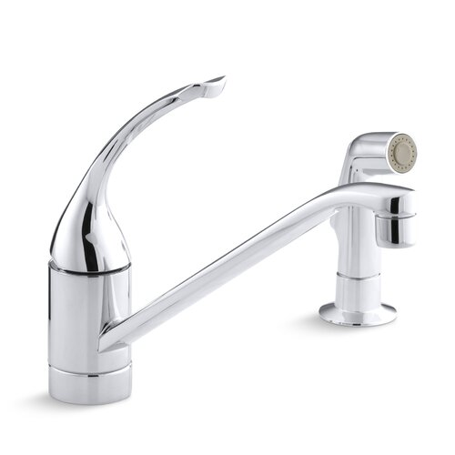 "Kohler Coralais Single-Control Kitchen Faucet with 10"" Spout, Color-Matched Sprayhead, Ground Joints and Loop Handle, Less Escutcheon"