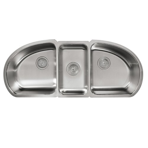 "Kohler Undertone 44.69"" x 18.5"" Under-Mount Triple-Bowl Kitchen Sink"