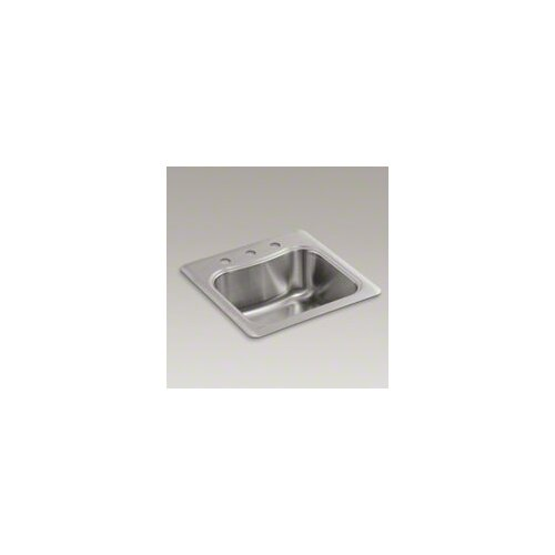 Kohler Staccato Top-Mount Single-Bowl Bar Sink with 3 Faucet Holes