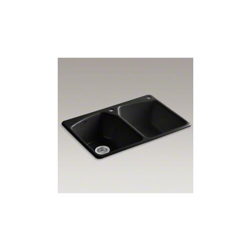 """Kohler Tanager 33"""" x 22"""" Top-Mount Double-Equal Bowl Kitchen Sink with Two Holes: 1 Faucet Hole and Right Hand  Accessory Hole"""