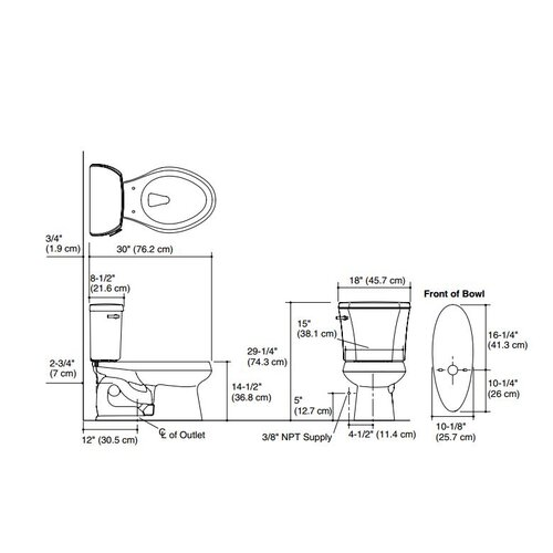 """Kohler Wellworth 1.28 GPF Two-Piece Elongated Toilet with 12"""" Rough In and Tank Locks"""