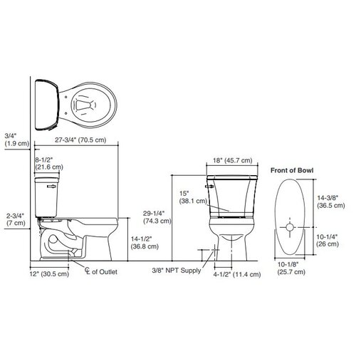 "Kohler Wellworth 1.28 GPF Two-Piece Round Toilet with 12"" Rough In and Right Hand Trip Lever"