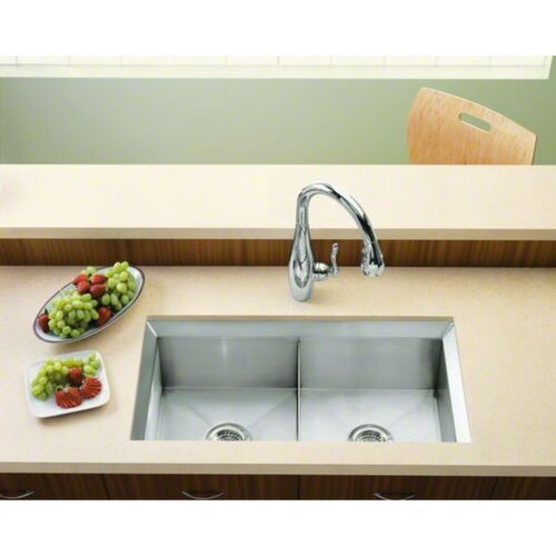 "Kohler Poise 33"" x 18"" Under-Mount Double-Equal Bowl Kitchen Sink"
