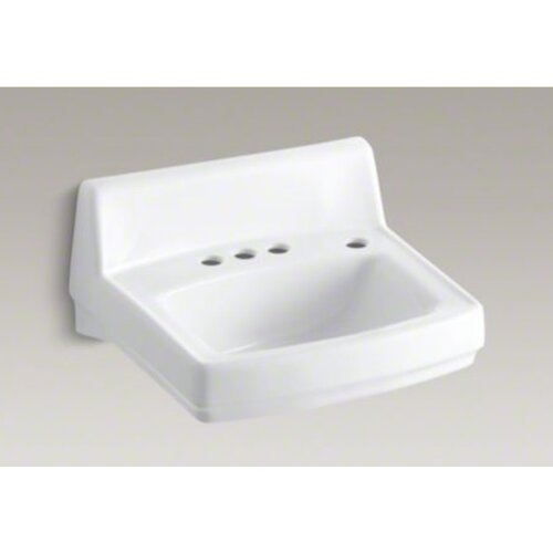 """Kohler Greenwich 20-3/4"""" X 18-1/4"""" Wall-Mount/Concealed Arm Carrier Bathroom Sink with 4"""" Centers, No Overflow and Right-Hand Soap Dispenser Hole"""