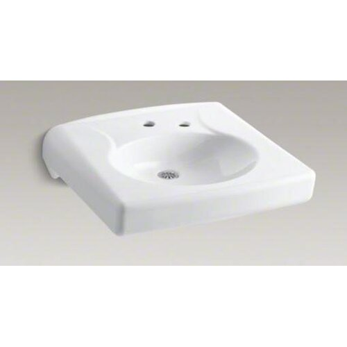 Brenham Wall-Mount Lavatory with Single-Hole Drilling and Right-Hand Soap Dispenser Hole and No ...