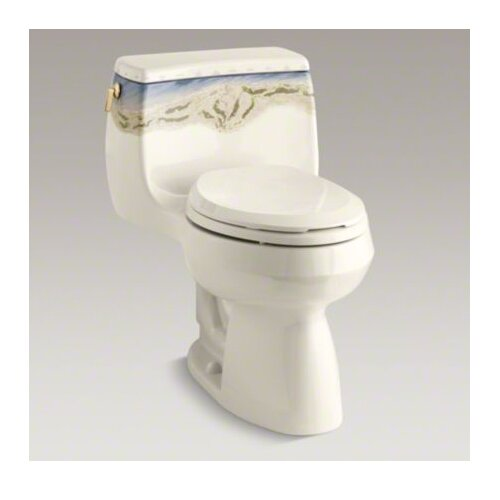 Kohler Gabrielle Whistling Straits Comfort Height One-Piece Elongated 1.6 Gpf Toilet with Class Five Flush Technology and Vibrant Polished Brass Left-Hand Trip Lever